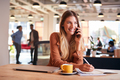 Young Businesswoman Sitting At Desk On Phone Call In Modern Open Plan Office - PhotoDune Item for Sale