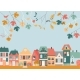 Cute Cartoon Little Town with Autumn Leaves - GraphicRiver Item for Sale