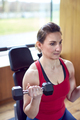 Mature Woman Exercising In Home Gym Lifting Hand Weights - PhotoDune Item for Sale