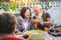 Happy senior people having fun at barbecue dinner - Multiracial mature friends eating at bbq meal - PhotoDune Item for Sale