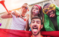 Happy sport supporters having fun during football world game - PhotoDune Item for Sale