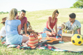 Happy families doing picnic in nature park outdoor - PhotoDune Item for Sale