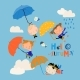 Happy Kids Flying with Umbrellas in the Sky - GraphicRiver Item for Sale