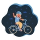 Vector Illustration of Little Girl on Bicycle  - GraphicRiver Item for Sale