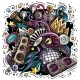 Cartoon Vector Doodles Disco Music Illustration - GraphicRiver Item for Sale