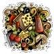Pizza Cartoon Doodle Illustration - GraphicRiver Item for Sale
