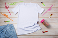 Kids T-shirt mockup with birthday party drinking straw - PhotoDune Item for Sale