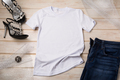 White women cotton T-shirt mockup with black high heels - PhotoDune Item for Sale