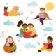 Colorful Set of Cute Children Read Books - GraphicRiver Item for Sale