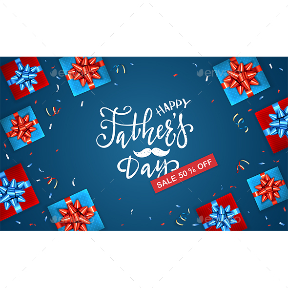 Fathers Day Sale and Gift Boxes on Blue Background
