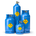 Oxygen gas tanks containers and cilinders of different size isolated on white. - PhotoDune Item for Sale