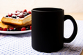 Black coffee mug mockup with waffles and berries - PhotoDune Item for Sale