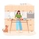 Woman Preparing Vegetarian Healthy Food Slicing - GraphicRiver Item for Sale