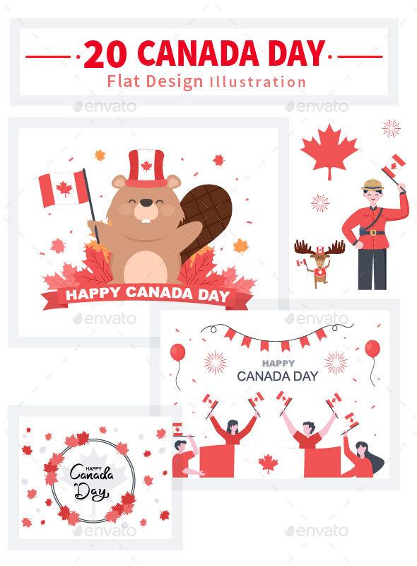 20 Happy Canada Day Celebration Illustration