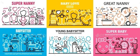 Child Babysitter Banner Set Outline Style
