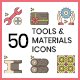 50 Tools and Materials eCommerce Icons   Hazel Series - GraphicRiver Item for Sale