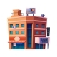 City Building with Commercial Center or Shops - GraphicRiver Item for Sale