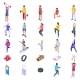 Physical Activity Icons Set Isometric Style - GraphicRiver Item for Sale
