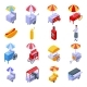Hot Dog Cart Icons Set Isometric Style - GraphicRiver Item for Sale