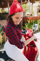 Close-up portrait of cute lovely woman driving on the bike outdoor, active lifestyle, trip - PhotoDune Item for Sale