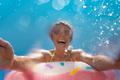 Spring break! Happy woman having fun on summer vacation - PhotoDune Item for Sale