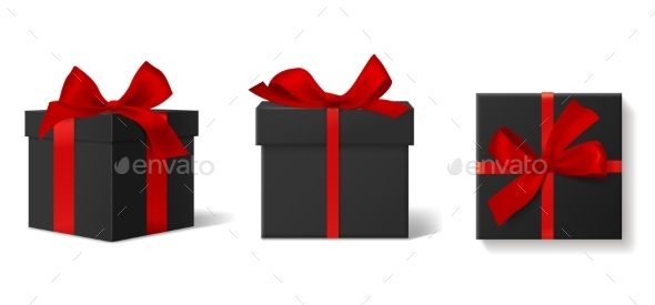 Realistic Black Gift Boxes