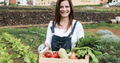 Mature farmer woman holding wood box with fresh organic vegetables - Focus on face - PhotoDune Item for Sale
