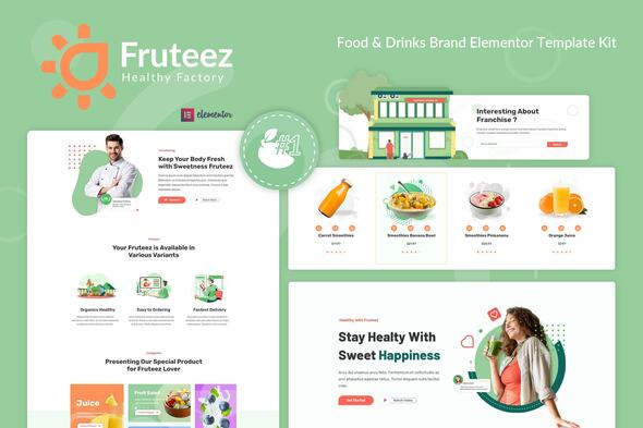 Fruteez – Healthy Food & Drinks Brand Elementor Template Kit, Gobase64