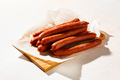 Smoked sausages with spices on a cutting board - PhotoDune Item for Sale