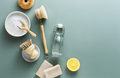 Natural cleaning products, baking soda, wooden brushes, vinegar, lemon, salt, soap - PhotoDune Item for Sale