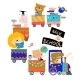 Happy Cartoon Animals Riding to the School By - GraphicRiver Item for Sale