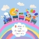 Happy Animals Traveling By Train on Rainbow - GraphicRiver Item for Sale