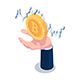 Isometric Businessman Hand Holding Bitcoin with Financial Chart - GraphicRiver Item for Sale