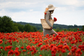 young woman with handbag holding a bouquet of poppies in a beautiful field - PhotoDune Item for Sale