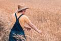 Female farm worker agronomist examining ripe barley crops - PhotoDune Item for Sale