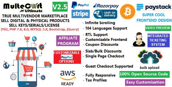 MulteCart Ultimate Ecommerce - Digital Multivendor Marketplace Online Store - eShop CMS