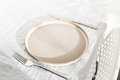 Empty Plate on White Linen Tablecloth. - PhotoDune Item for Sale