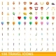 100 Travel Icons Set Cartoon Style - GraphicRiver Item for Sale