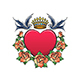 Heart with Crown Swallows and Rose Wreath Tattoo - GraphicRiver Item for Sale