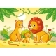 Lion Family is Sitting in the African Savannah - GraphicRiver Item for Sale