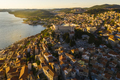 Beautiful old city of Sibenik, aerial view of the town center at sunset. Croatia - PhotoDune Item for Sale
