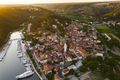 Beautiful old city of Skradin, aerial view of the town center at sunset. Croatia - PhotoDune Item for Sale