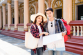 Young backpacker couple tour in beautiful temple - PhotoDune Item for Sale