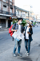 Young Backpacker Couple in mask Holding Map On City Street - PhotoDune Item for Sale
