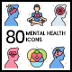 80 Mental Health Icons   Vivid Series - GraphicRiver Item for Sale