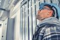 Caucasian Construction Engineer in Blue Hard Hat - PhotoDune Item for Sale