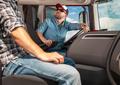 Two Caucasian Truckers International Haul Team - PhotoDune Item for Sale