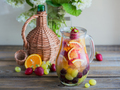 Homemade refreshing fruit sangria or punch with champagne, strawberries, oranges and grapes. - PhotoDune Item for Sale