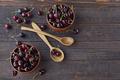 Fresh sweet cherries in wooden bowl - PhotoDune Item for Sale