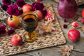 Glass of red wine, apples, grapefruits, autumn leaves and flowers - PhotoDune Item for Sale